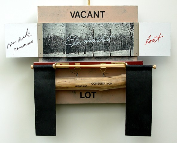 wood assemblage with hand-written notes, metal, fabric, photography, acrylic paint by Rebecca Stuckey