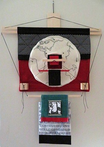 fiber art wall hanging made with fabric, wood and thread influenced by Japanese aesthetics  by Rebecca Stuckey