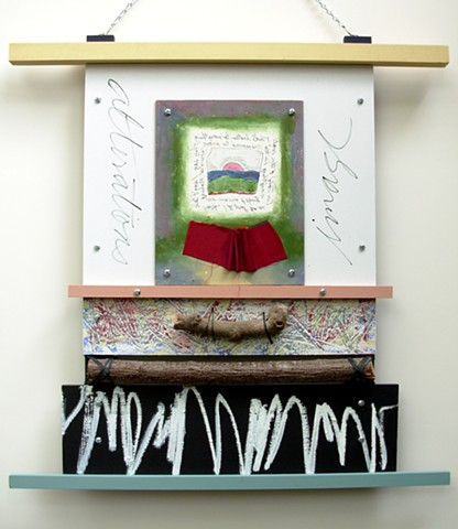 wood assemblage with oil pastel drawing, verbal notes, metal, tree branch segment by Rebecca Stuckey