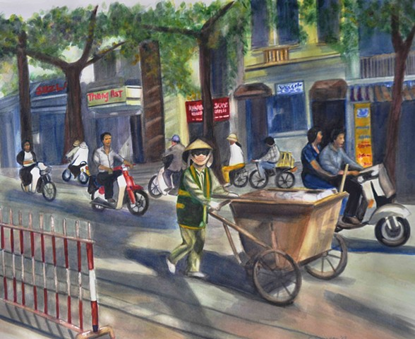 street cleaner, Vietnam, busy street, motorcycles, Saigon