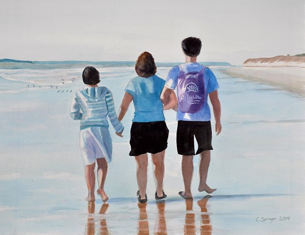 mother and kids, walking on beach, Jekyll Island, water