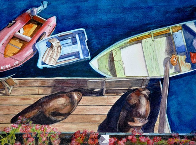 sea lions, Monterey, California, boats