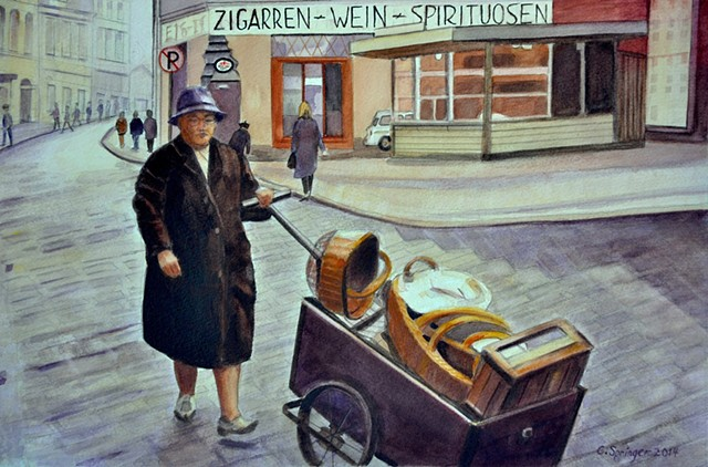 cart, Germany, old woman, baskets, street scene