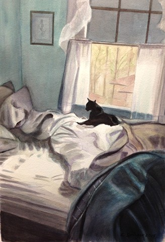 black, cat, bed, unmade