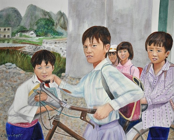 Vietnamese, children, school children, bicycle