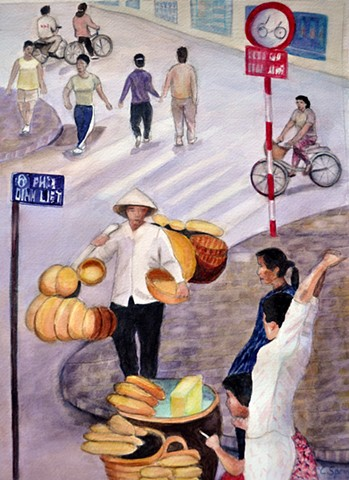 Hanoi street, women, selling wares, bread, baskets