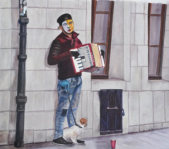 accordion, accordionist, Cracow, Poland, dog, masked face, busker