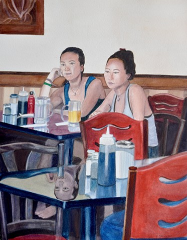 in a Roslindale, MA coffee shop, two women, one happy, one sad