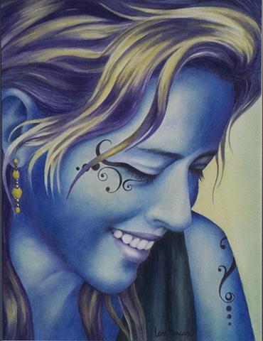 Blue Face-Tattoo