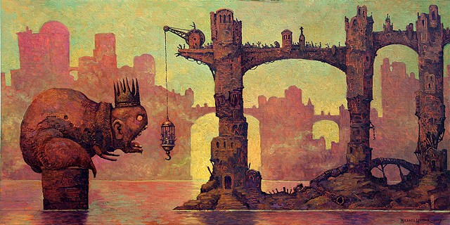 Feeding the king surreal gothic oil painting by Michael Hutter