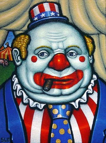 Tim Slowinski Election clown acrylic painting
