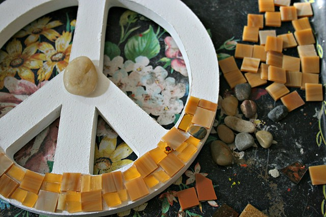 Work-in-progress - Mosaic Peace Sign