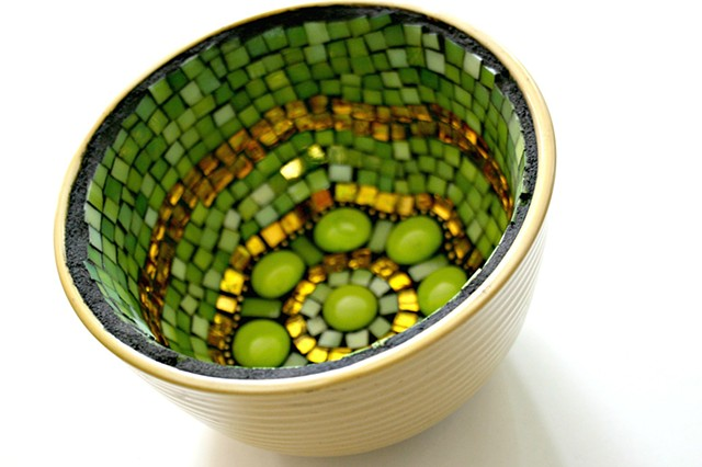 Green Apple Mosaic Bowl