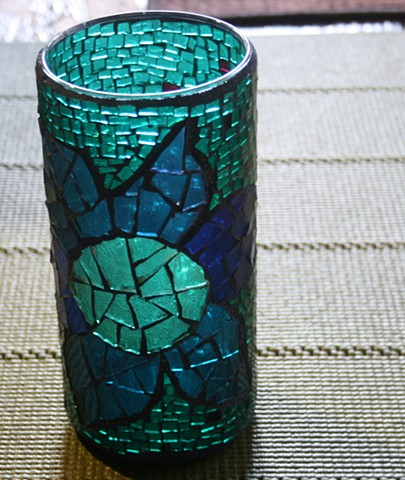 Mosaic Stained Glass Lotus Flower Vase
