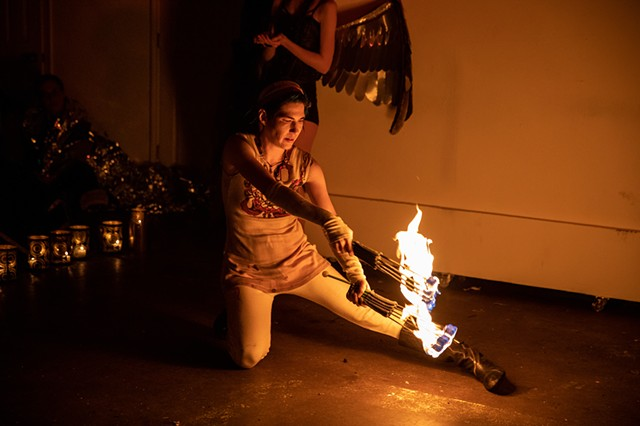 Fire performance and effigy burn by Tara McManus | Photo by Walter Wlodarczyk