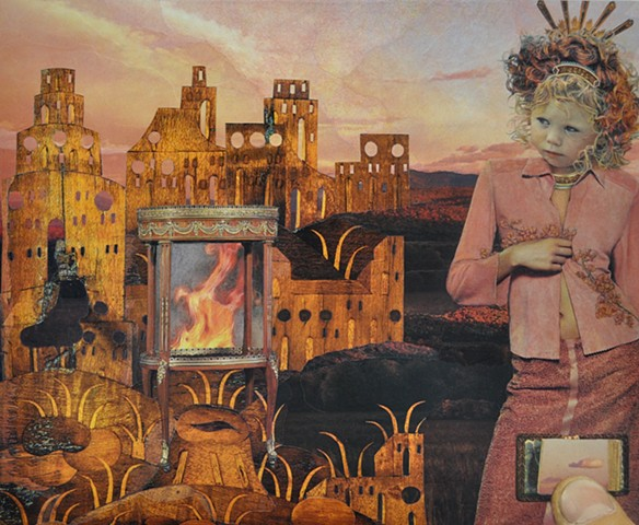 M.M. Dupay collage feminist art Marcelle Dupay M. M. Dupay surrealism landscape fire miniature book