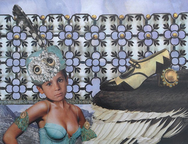 M.M. Dupay M. M. Dupay Louise Bourgeois eyes owl corset Egyptian feathers gold balls purple sky brooch fence border grate gate collage shoes figurative transexual Icarus art feminist Marcelle Dupay landscape