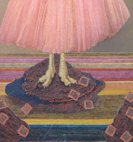 M.M. Dupay M. M. Dupay red pink ostrich bridge ballet tutu skirt collage animal bird art feminist Marcelle Dupay