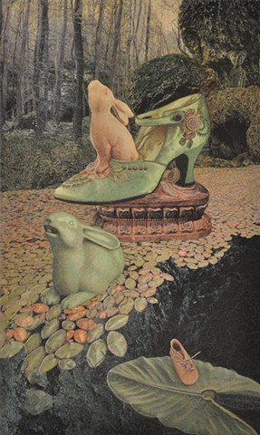 M.M. Dupay collage rabbits lily pads shoes feminist art  Marcelle Dupay What's the Frequency magic realism surrealism