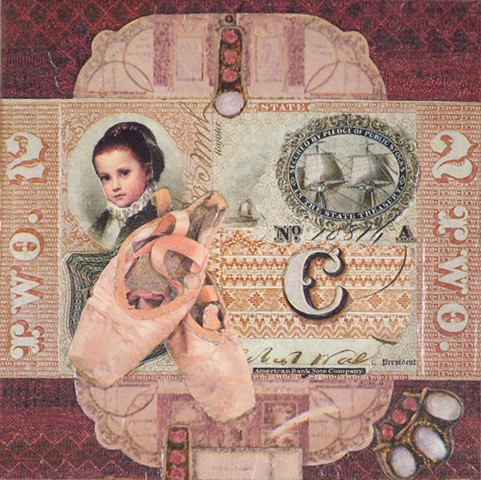 M.M. Dupay M. M. Dupay red pink money ships ballet shoes collage shoes figurative art feminist Marcelle Dupay two 2 two 2