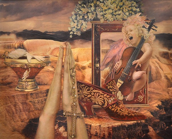 M.M. Dupay M. M. Dupay pink collage shoes Losing My Religion praying hands Mammoth Springs Yellowstone National Park musical instruments cello viola winged figurative art feminist Marcelle Dupay landscape