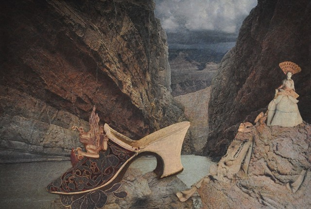 M.M. Dupay collage fossil shoes feminist art Marcelle Dupay canyon Pre-Columbian art Donner Party doll bones surrealism