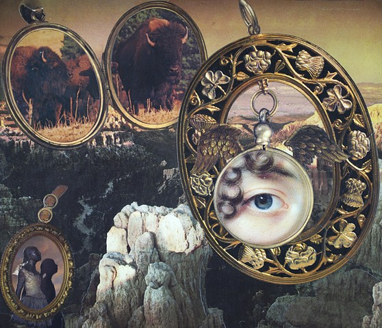 M.M. Dupay collage feminist art Marcelle Dupay M. M. Dupay surrealism rocky canyon national park landscape lockets buffalo bison Degas Little Dancer of Fourteen Years lover's eye all seeing eye locket and load Masur Museum of Art