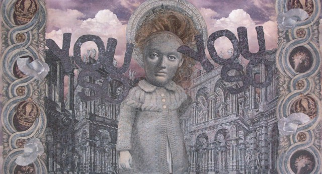 M. M. Dupay, collage, figurative art, feminist art, mixed media drawing