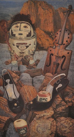M.M. Dupay collage Roman beads Appalachian musical violin fiddle instrument shoes feminist art Marcelle Dupay campfire Petrified Forest storyteller doll rocky landscape national park native american art pueblo