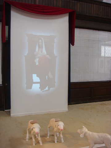 Like Lambs, detail of Madonna & Child video projection.