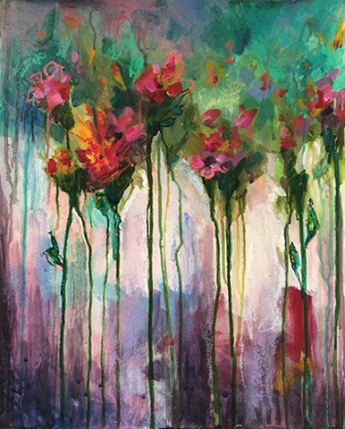 mixed media on paper of colorful botanical by nashville artist marabeth quin
