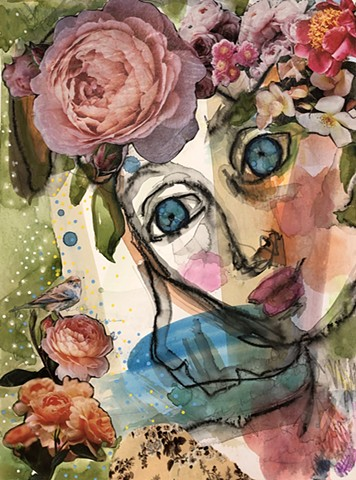 Collage Abstract girl with bird and flowers by marabeth quin