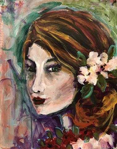 Inner Life is an abstract colorful portrait of a girl by artist marabeth quin