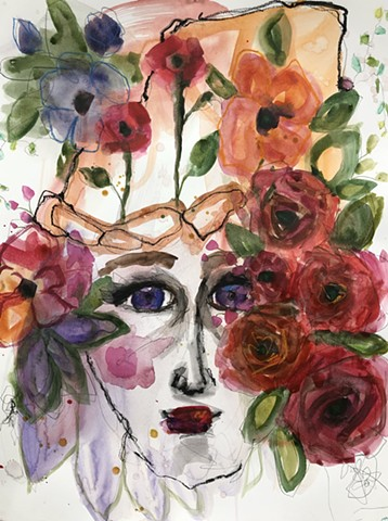 abstract floral and face by nashville artist marabeth quin