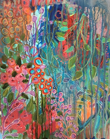 colorful acrylic and water-soluble crayon botanical abstract on paper by artist Marabeth Quin