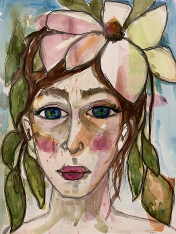 Abstract girls face with magnolia blossom by artist marabeth quin