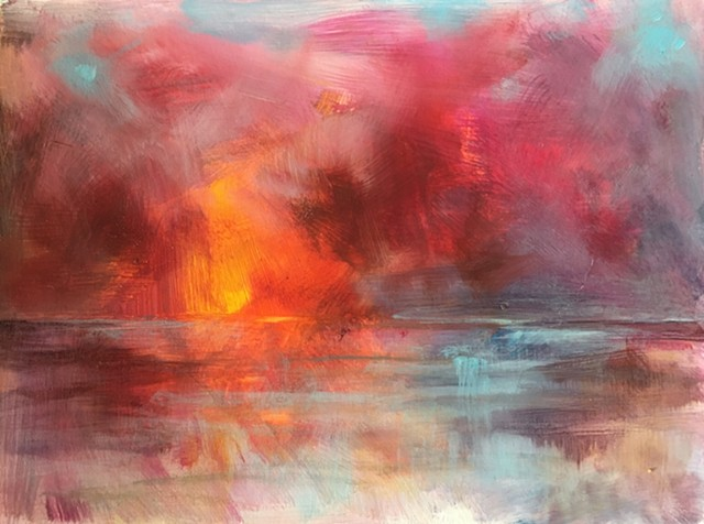 acrylic and oil painting of sunset over water by nashville artist marabeth quin