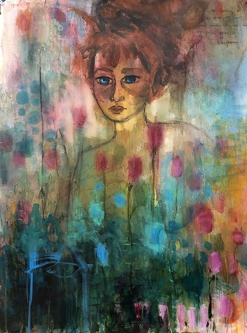 Abstract girl in flowers by artist marabeth quin