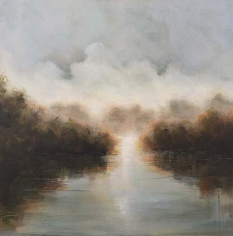 light reflected on a foggy river by nashville artist marabeth quin