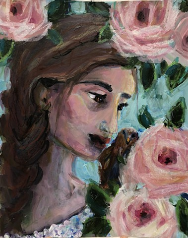 girl with bird and roses by Marabeth Quin
