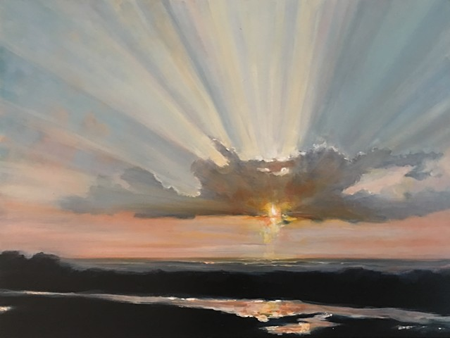 sunset at Salt Pond Kauai Hawaii by Nashville Artist Marabeth Quin