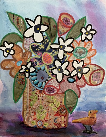 Abstract flowers in vase with little bird by marabeth quin