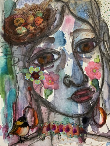 Abstract floral collage face by artist Marabeth quin