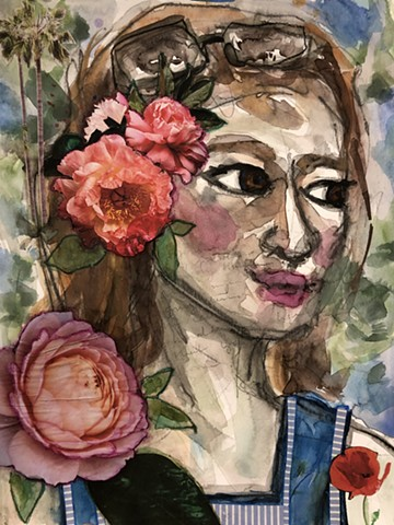 Abstract girl with Hawaiian flowers by artist marabeth quin