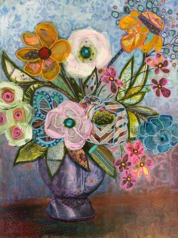 Mixed media collage flowers in vase by Marabeth Quin