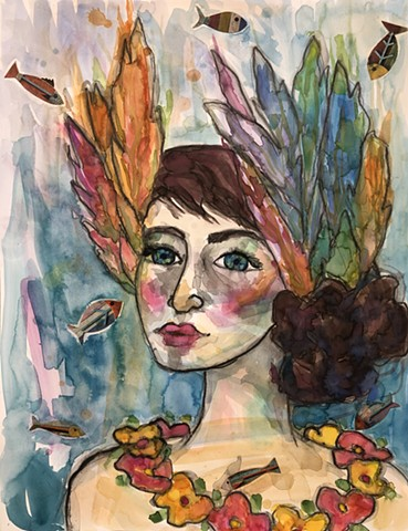 Abstract mixed media girl with collage by artist marabeth quin