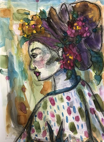 Abstract woman with flowers by artist Marabeth Quin