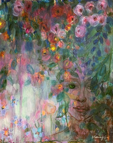 Mixed media woman's face in forest by Marabeth Quin