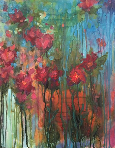 colorful botanical abstract of spring flowers by Nashville artist Marabeth Quin