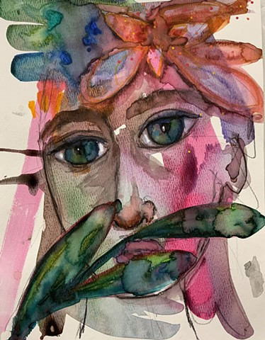 Abstract face by artist Marabeth Quin